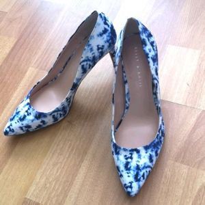 Blue and white low comfy heels